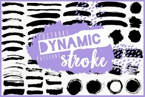 Dynamic stroke. Graphic set.