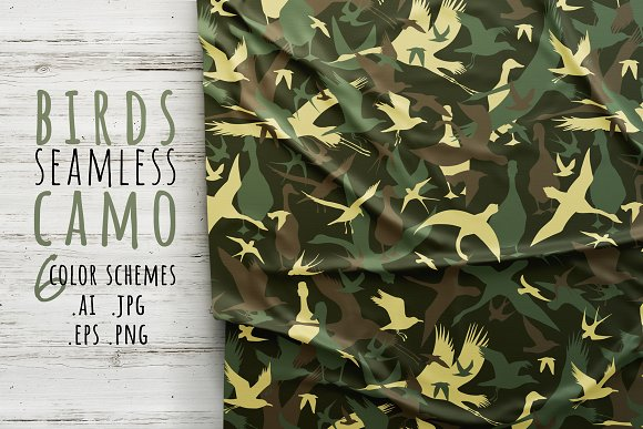 Seamless camouflage with birds
