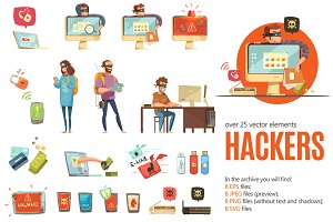 Hackers Cartoon Set