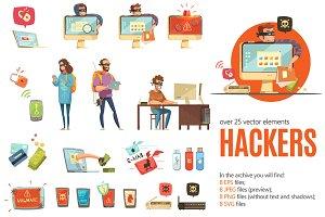 Hackers Cartoon Set