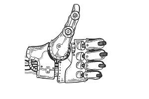 Robot hand engraving vector