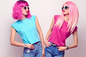 Two Hipster Girl, Pink Fashion