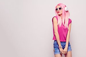 DJ Girl Hipster with Pink Hair