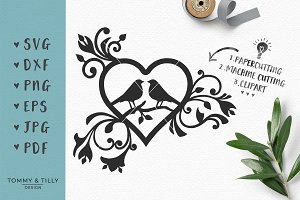 Love Birds Heart - Wedding SVG