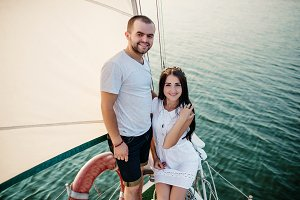 couple in love at the yacht