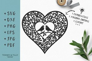 Love Birds Vintage Heart - SVG