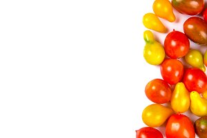 various colorful tomatoes isolated o