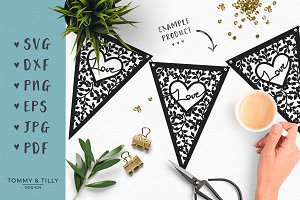 Love Bunting - Wedding SVG Clipart