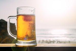 Cold draft beer at beach