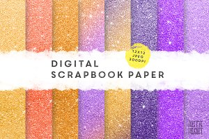Halloween glitter digital paper