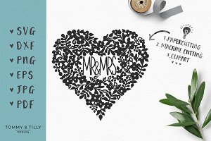 Mr and Mrs Heart - Wedding SVG