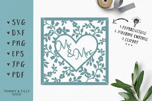 Mr & Mrs Heart Frame - Wedding SVG