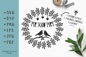 Mr & Mrs Wreath - Wedding SVG