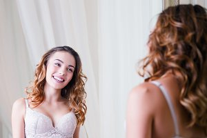 Sensual laughing lovely young girl