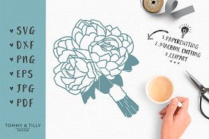 Peony Wedding Bouquet - SVG Clipart