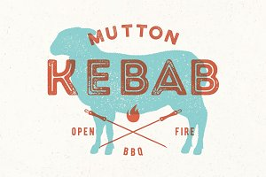 Lamb, kebab. Poster for Butchery