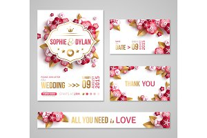Wedding invitations pink flowers
