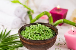 Spa. Green herbal spirulina salt in