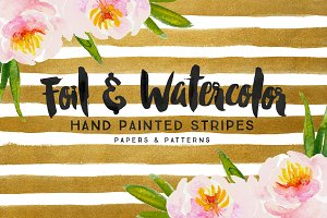 Foil & Watercolor Stripes
