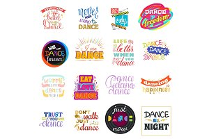 Dance lettering vector dancing sign