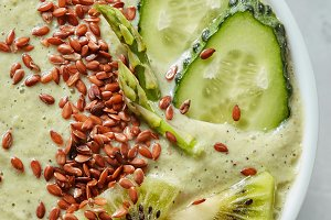 Top view of a green smoothie from
