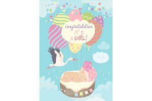 Nice card with stork and baby on
