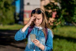 Girl schoolgirl teenager. In summer
