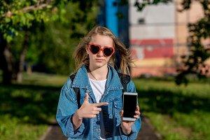 Girl schoolgirl teenager. Summer in