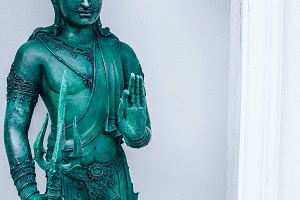 Buddhist Green Thai Statue at Temple