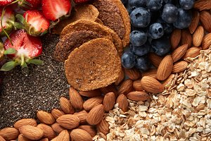 Mix of berries, nuts, oatmeal and