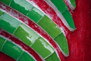Green Tail Texture on Red Background