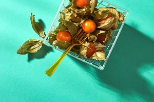 Orange physalis in a basket with a