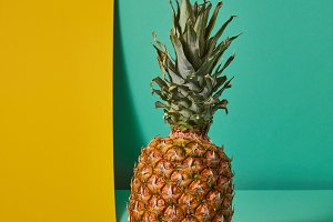 Exotic fruit of pineapple presented