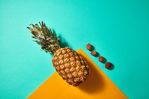Pineapple and Lychee composition on
