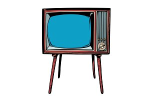 retro TV. Television news and
