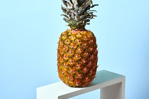 Tropical exotic fruit pineapple on a