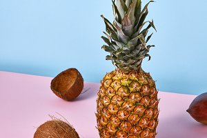 Tropical exotic fruits pineapple