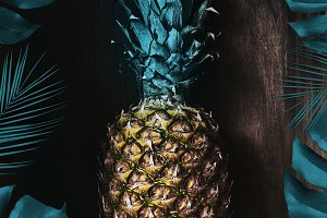 Ripe juicy pineapple fruit with