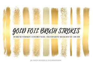 Gold Foil Brush Strokes Clipart