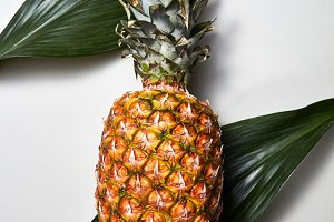 Pineapple fruits with tropical green