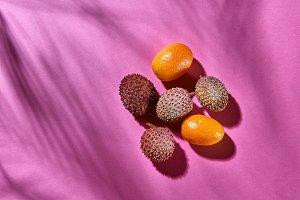 Top view of litchi and kumquat-