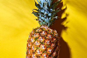 Pineapple fruits with shadows from