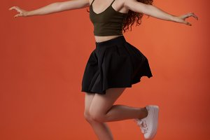 Jumping young woman