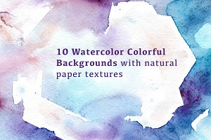 10 Watercolour colorful Backgrounds