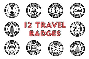12 Vector Travel Badge Mockups