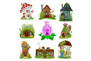 Fantasy house vector cartoon fairy