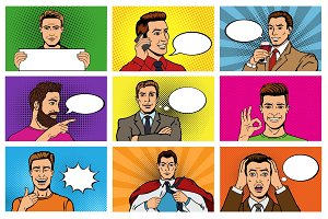 Comic man vector popart cartoon