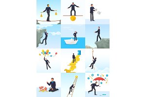 Businessman risk vector man in risky