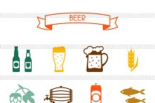 Beer icons and pattern.