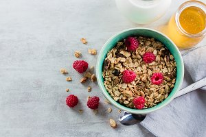 Healthy breakfast. Granola